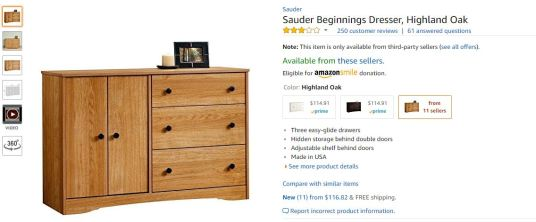 2018-04-25 10_46_45-AmazonSmile_ Sauder Beginnings Dresser, Highland Oak_ Kitchen & Dining